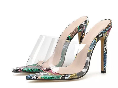 Eilyken Woman Snake grain PVC Transparent Mules Heels slippers