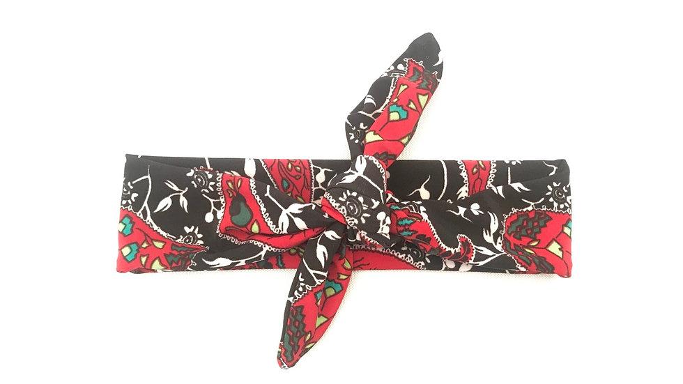 Black & Red Paisley Knot Headband