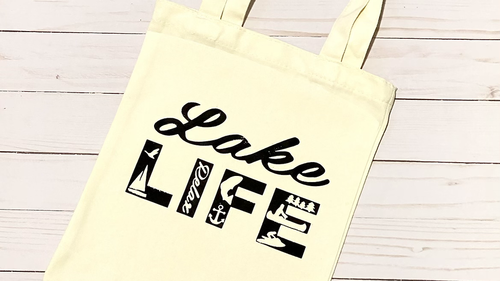 Lake Life Canvas Tote Bag