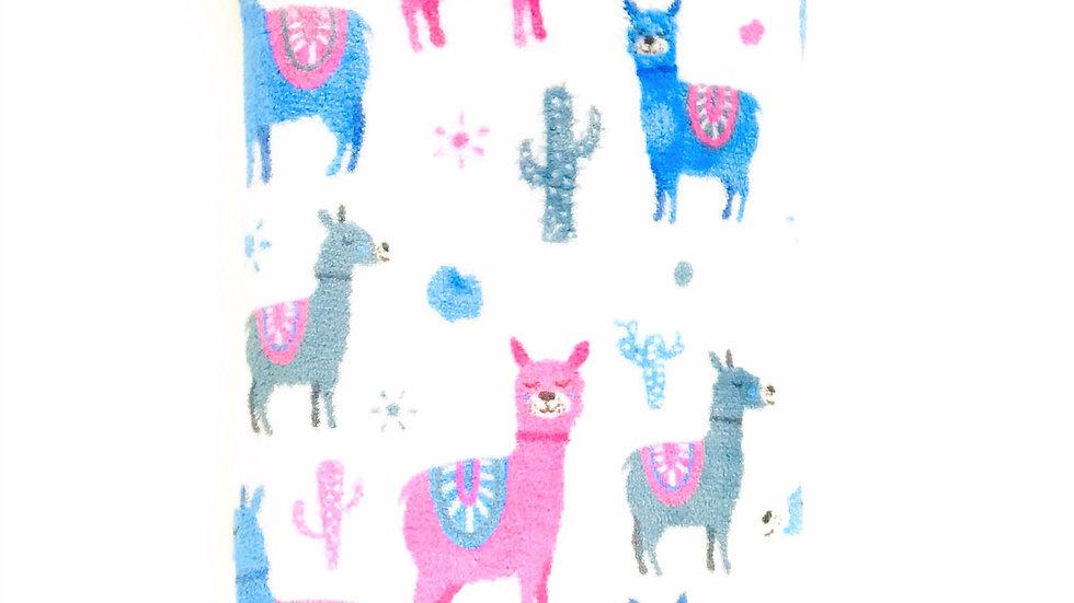 Pink Gray Llamas Stroller Blanket