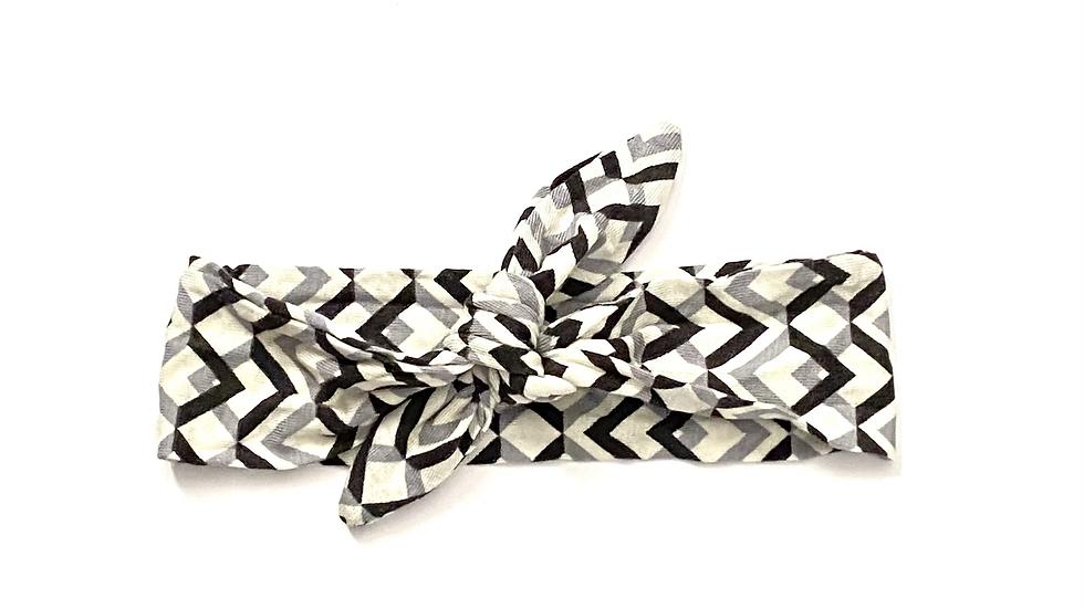 Gray & Black Print Knot Headband