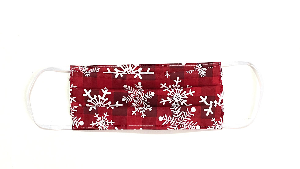 Adult Christmas Face Mask - Red Snowflake