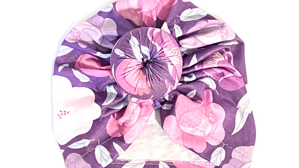 Baby/Toddler Top Knot Hat - Purple Floral
