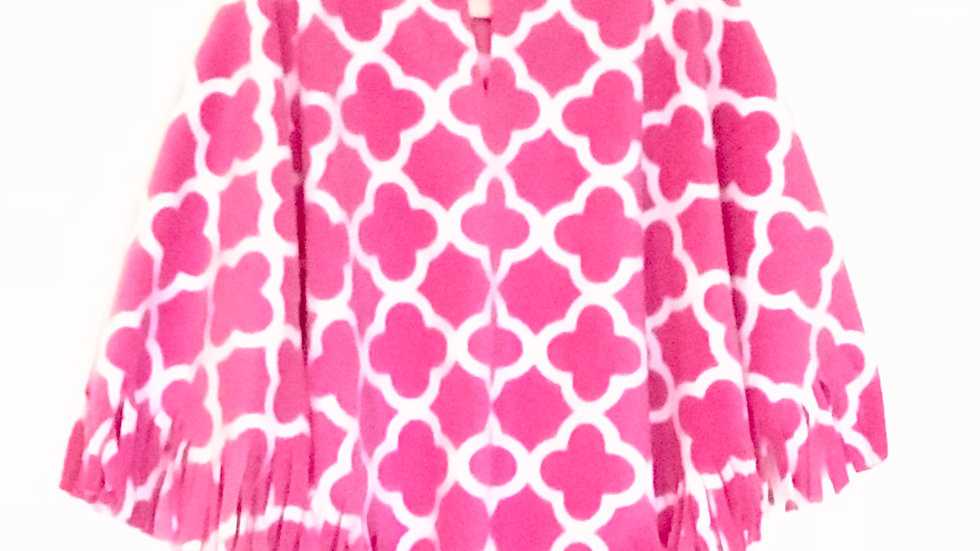 Pink Quatrefoil Poncho