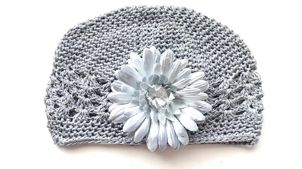 Gray Toddler Gem Flower Hat