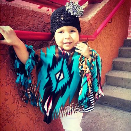 Teal Navajo Poncho