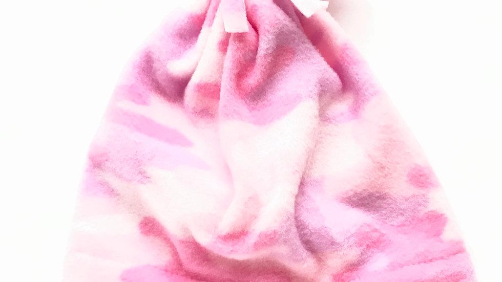 Kids Pink Camo Fleece Hat