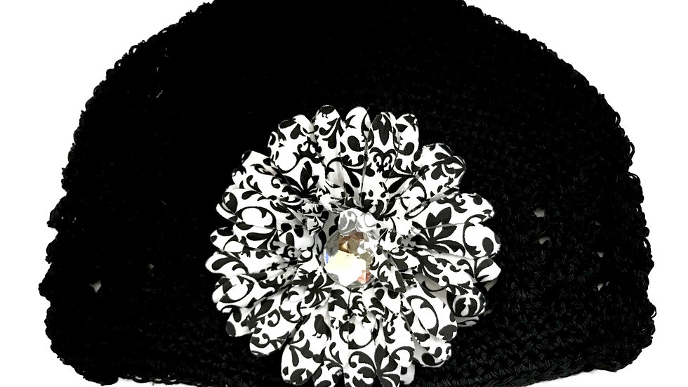 Black Damask Toddler Gem Flower Hat