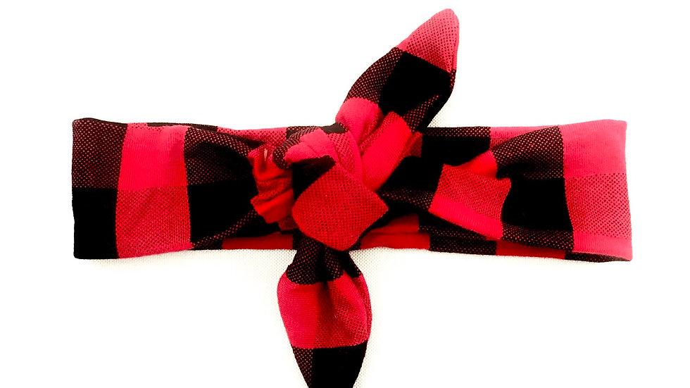 Red Buffalo Check Knot Headband