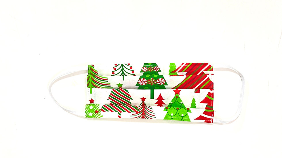 Adult Christmas Face Mask - Green/Red Trees