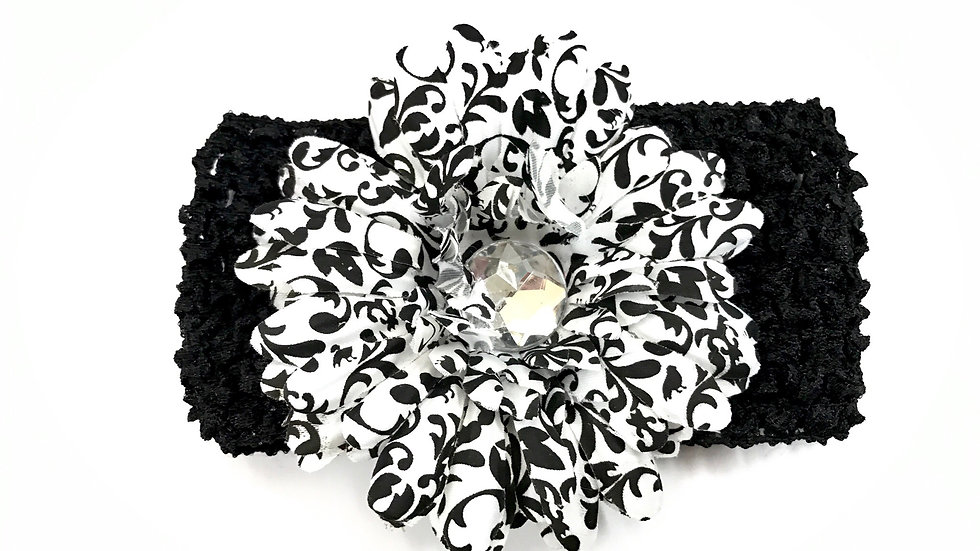 Black Damask Gem Flower Headband