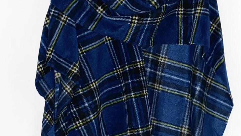 Ladies Wrap - Navy & Yellow Tartan