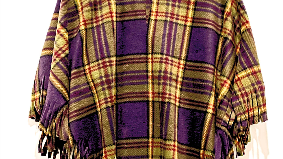 Purple Olive Plaid Poncho