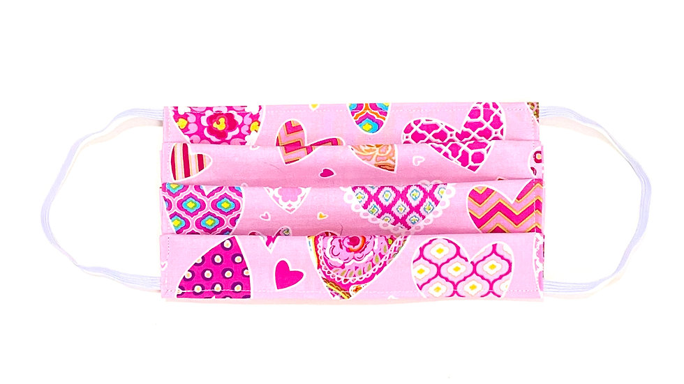 Kids Face Mask - Pink Hearts