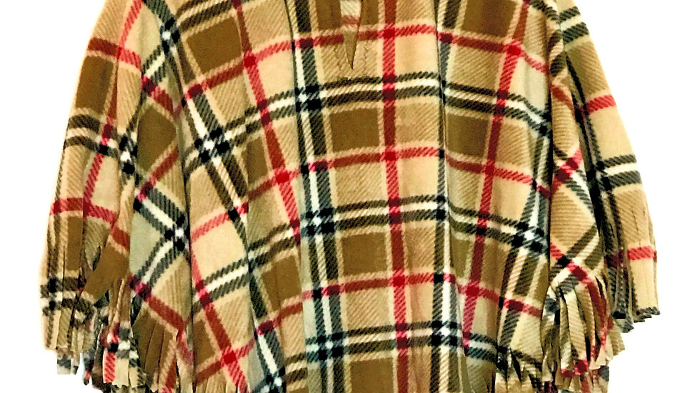 Tan London Plaid Poncho