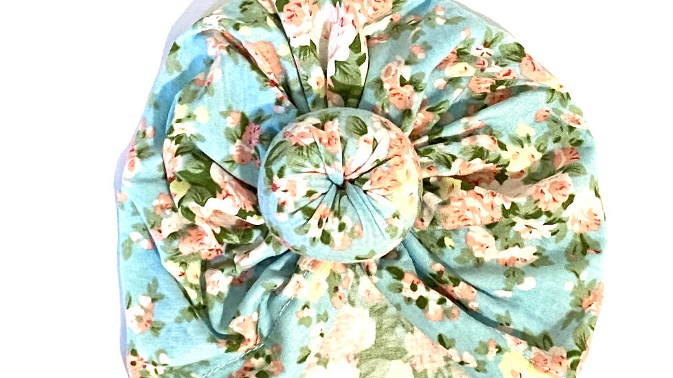 Baby/Toddler Top Knot Hat - Blue Floral