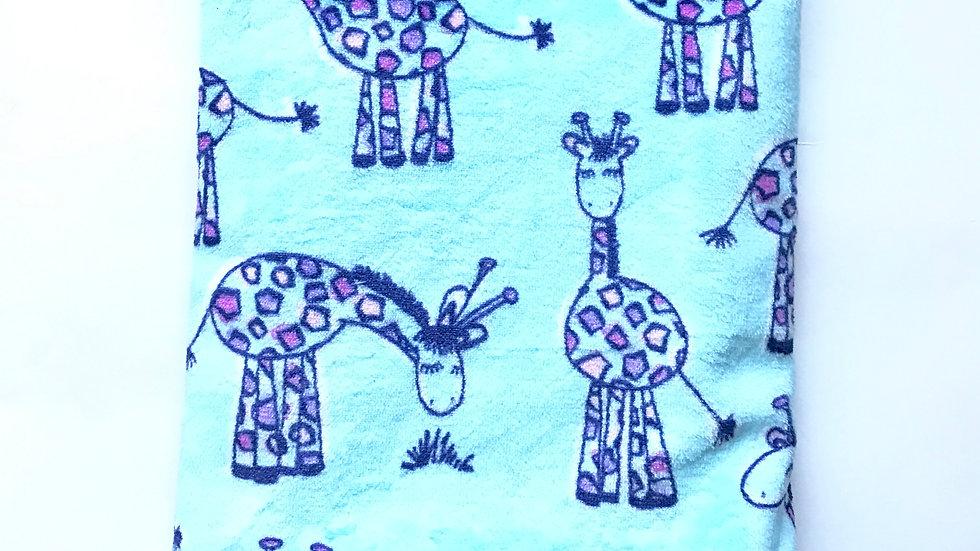 Turquoise Giraffe Stroller Blanket
