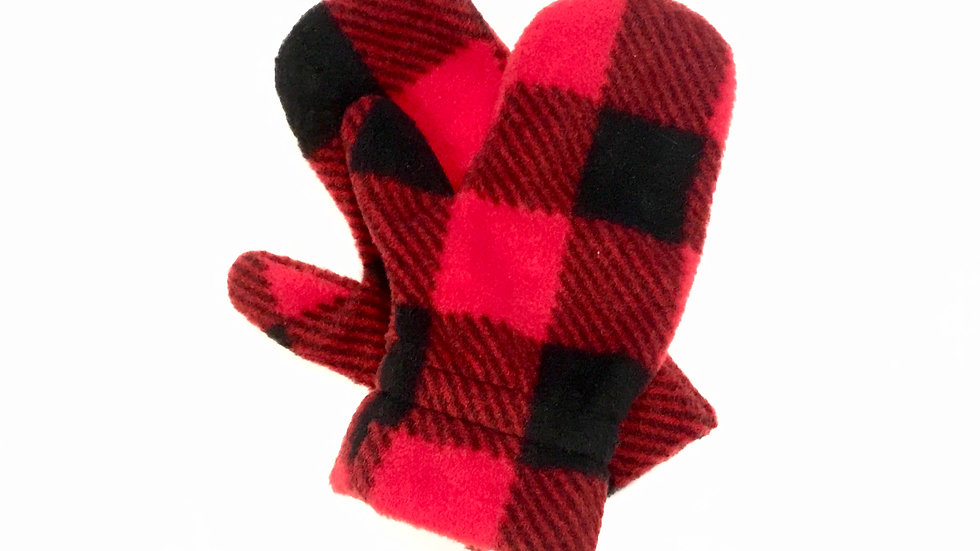 Kids Red Buffalo Check Mitts