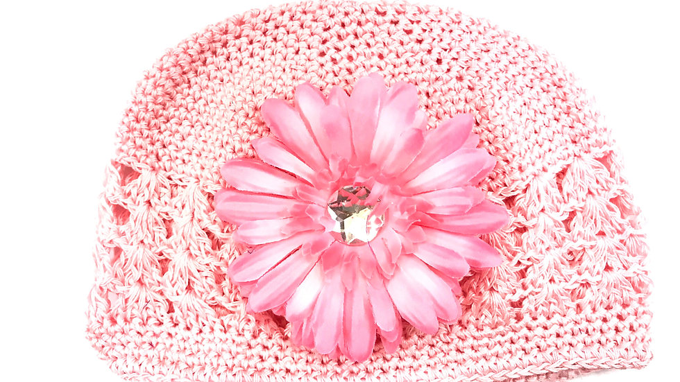 Soft Pink Toddler Gem Flower Hat