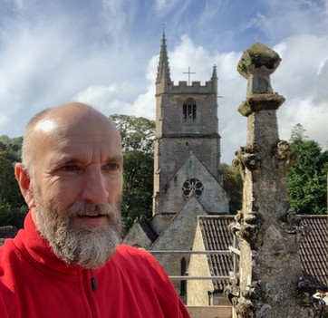 Inspecting pinnacles at Castle coombe, Wiltshire.