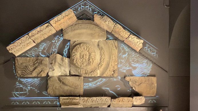 The reconstruction of the Roman Gorgon pediment, can be read about in chapter 3 of 'The Stonemason'