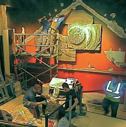 Repair works to the Gorgon Pediment, the Roman Baths, Bath.