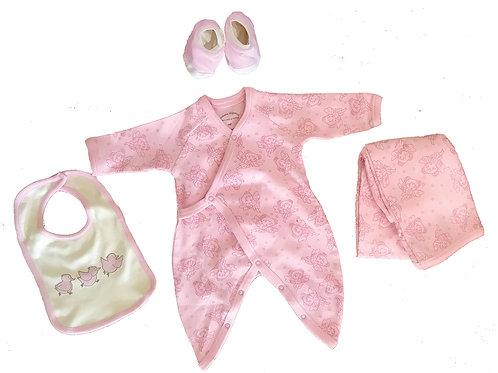 Organic Cotton Fairy Baby Kimono, Bib, Blanket, Booties