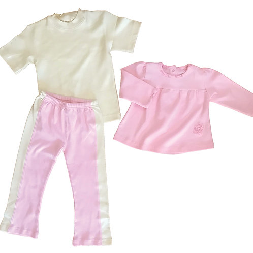 Organic Cotton Pink Yoga Pant, Tee, and Swing Top 18-24m