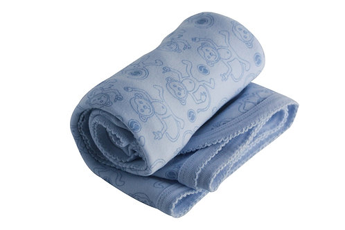 Organic Cotton Baby Receiving Blanket Blue Monkey