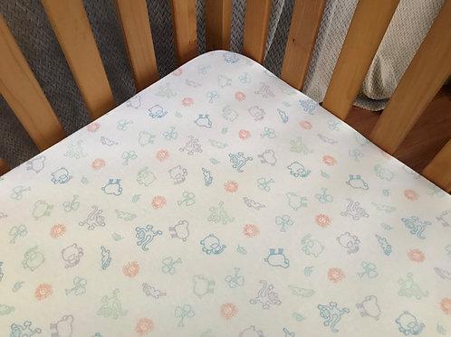 Organic Cotton Crib Fitted Sheet Pastel Animal