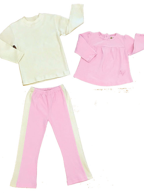 Organic Cotton Kids Pink Yoga Pant Set