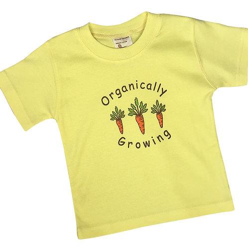 Organic Cotton Yellow Carrots Baby Tee Shirt