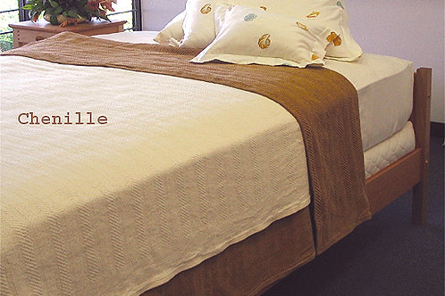 Organic Cotton Chenille Blanket on Bed