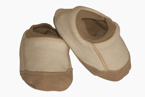 Organic Cotton Baby Booties Khaki