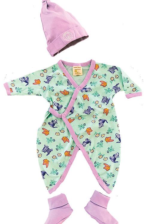 Organic Cotton Baby Kitty Kimono, Cap, Booties