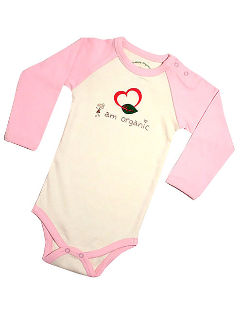 I Am Organic Cotton Baby Bodysuit Onesie Pink