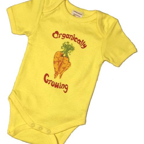 Organic Cotton Baby Bodysuit Onesie Yellow Carrot