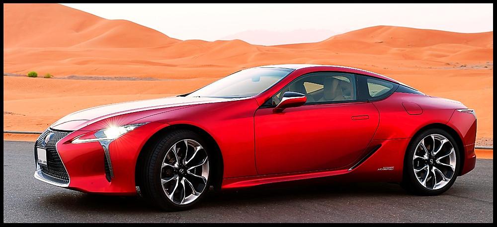 Lexus LC500h in the Abu Dhabi desert