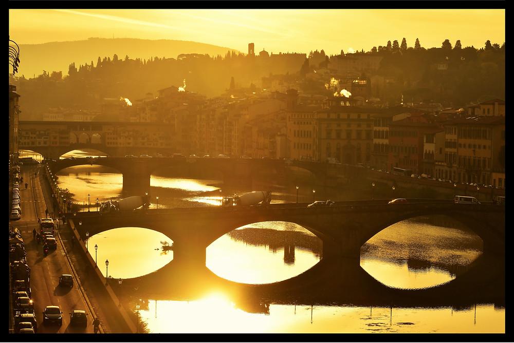 Golden Tuscan Sunrise Over The Arno River, St. Regis - Florence