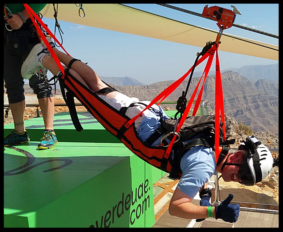 Bradley Harden ready for the longest zipline in the world.