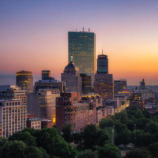 Boston at sunset