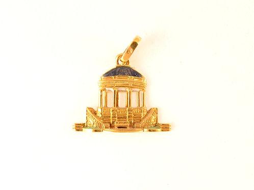 Colgante del Kiosco de la Plaza del Castillo en  Oro y esmalte a fuego.