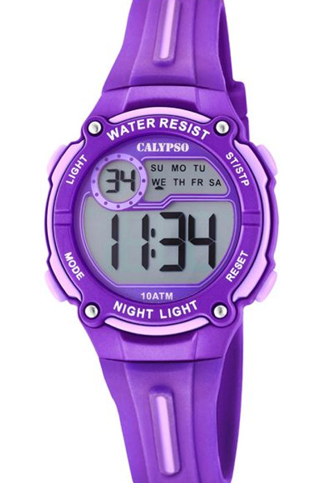 Reloj Calypso Morado y Rosa digital