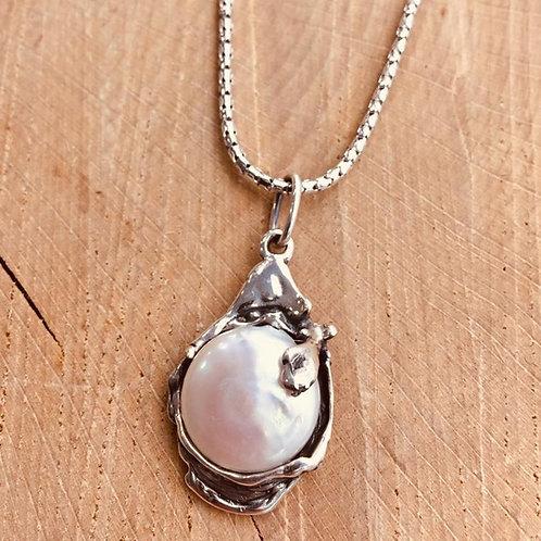 Colgante con Perla natural con cadena en Plata