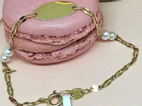 Pulsera Chapa y perlas (grabable)