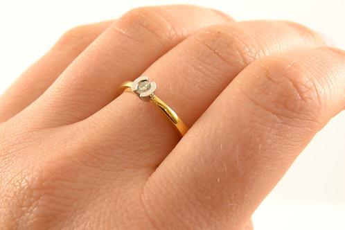 Anillo Oro Amarillo y Oro Blanco con diamante