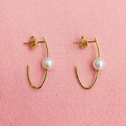Pendientes  con perla Cultivada en Oro  Amarillo 1ª Ley