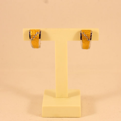 Pendientes Oro Amarillo y Blanco con Circonitas