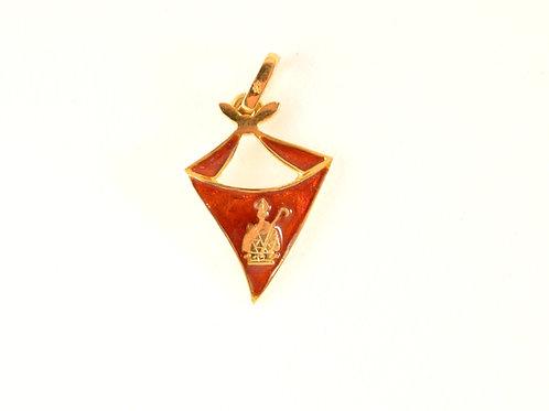 Colgante Pañuelo de  San Fermín  en oro y esmalte con la figura de Sanermin