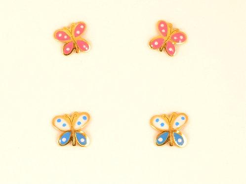 Pendientes Bebe mariposa en Oro y Esmalte